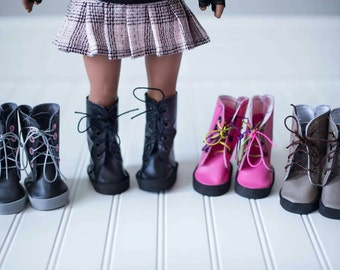 Custom made combat boots for 18in dolls such as American Girl,Our Generation,and My Life