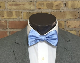 Sky Blue Cosmic Pindot Silk Bow Tie