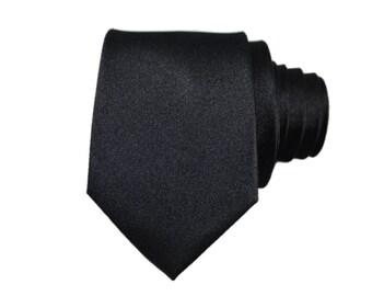 Standard Solid Slim Black Silk Slim Modern Tie
