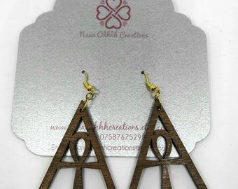Wooden Triangle Ankh Earrings