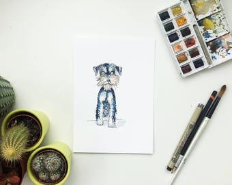 A5 miniature schnauzer painting, miniature schnauzer art, schnauzer dog, schnauzer gift, schnauzer illustration, schnauzer owner, schnauzer,