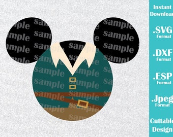 INSTANT DOWNLOAD SVG Disney Inspired Flynn Mickey Ears Tangled Cutting Machines Svg, Esp, Dxf and Jpeg Format Cricut Silhouette
