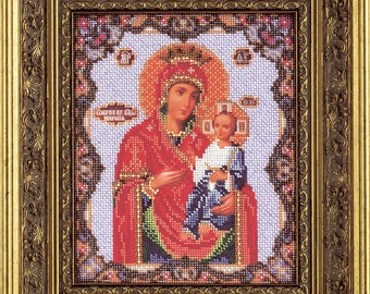 "Bead Embroidery Kit DIY Icon Our Lady Of Iveron 7.8""x9.4"" - Color Canvas Bead Set Needle Guide Beginners"