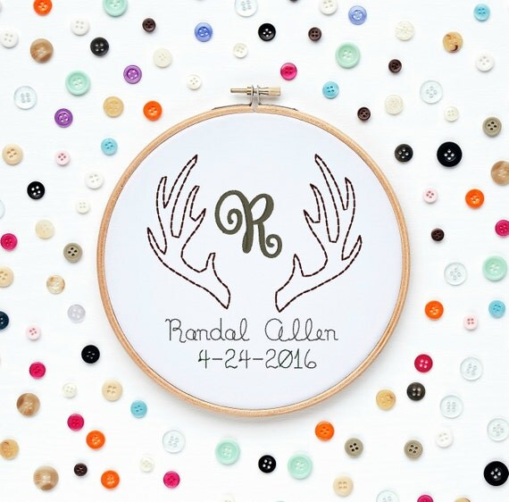 Custom Name Initials Monogram and Date Baby Boy Deer Antlers Machine Embroidery Designs Wall Art Original Digital File Instant Download 4x4