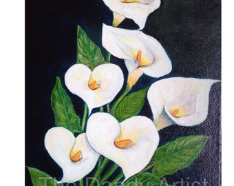 White Arum Lilies still life original oil painting.