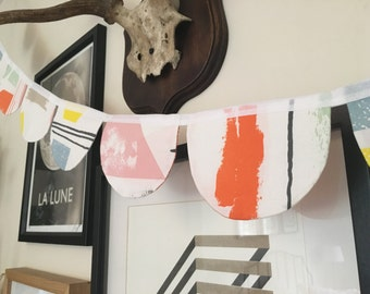 Mid-Century Retro Multicoloured Cotton Fabric Round Scallop Bunting Flag Decoration Garland - Handmade by BNTNG