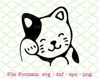 Cat SVG, Dxf, Eps & Png. Digital Cut Files for Cricut, Silhouette; Comical Cat Svg, Grooming Cat, Kitten Svg, Kitty Svg, Silhouette SVG