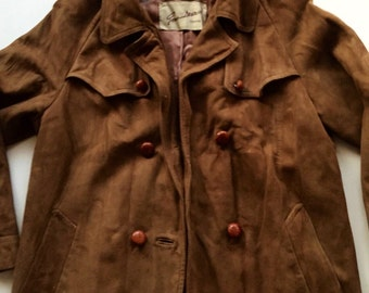 Vintage Brown Suede Trench Coat 1960s Leather Jacket Short Gano Down Size Small Medium
