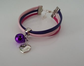 """Wristband leather """"PINK BELL"""""""