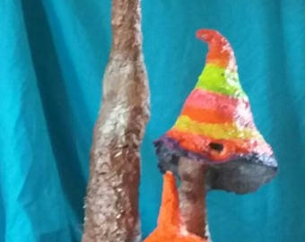 Fluorescent magic Mushrooms, handmade from paper mache