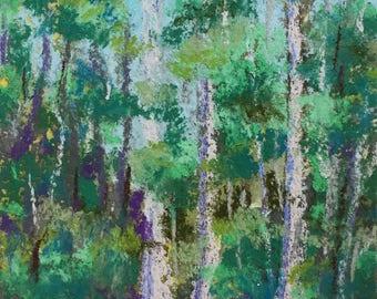 Original Impressionist Landscape Pastel Painting, Everglades Cypress Swamp #2