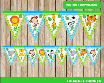 Safari triangle banner; printable Safari baby shower banner, Safari  party banner instant download