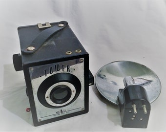 Tower Box Camera with Flash Attachment