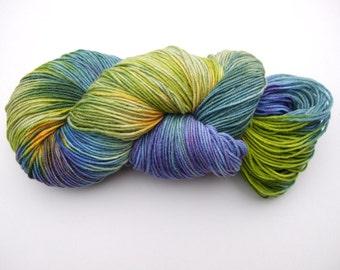 "Hand Dyed 100g 4ply Superwash Merino Wool ""Parrot Fish"" blue, yellow, green"
