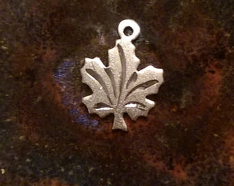 Vintage sterling silver small maple leaf charm necklace pendant or keychain charm