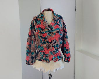 Vintage 1970s blouse with poppy print, spring launch green