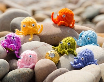 A set of six hand knitted octopi to cover a Ferrero Rocher, Lindt Lindor or any small sweets or gift.