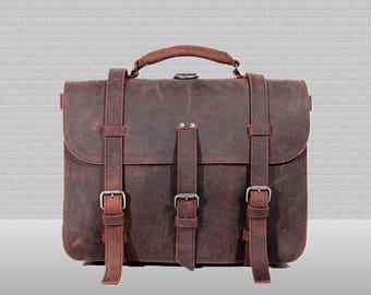 Handmade Mens Leather Briefcase Men Leather Backpack Mens Leather Messenger Bag Men Mens Leather Satchel Men Leather Macbook Bag Belt Bag