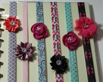 Custom decorative PLANNER BAND:Happy Planner Planner Band, Elastic Band, Create 365. Kikki K, Erin Condren, Journals