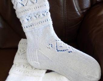 White Mid Calf  hand knitted socks
