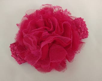 Extra Large lace flower headband- hot pink, white