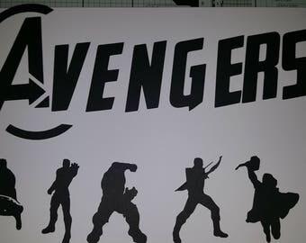 Avengers Silhouette die cuts. Avengers logo plus Iron man, Hulk, Captain America, Thor, Hawkeye