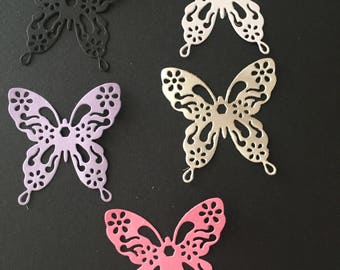 Set of 5 butterfly die cuts, white, silver, pink, purple and black. Stunning on fairy jars and fairy themed cards as well as lots of others