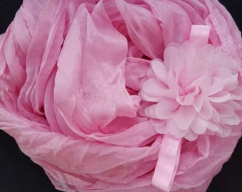 Light pink wrap and headband set. Photo prop. newborn. baby girl