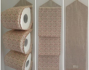 Spare toilet paper roll holders-3 rolls with fabric flowers (Door rolls toilet paper-3 spare rolls with fabric flowers).