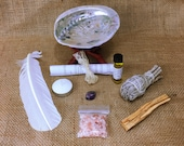 Large Abalone Smudge Kit: White California Sage, Palo Santo, Stand, Anointing Oil, Amethyst, Feather, + Instructions
