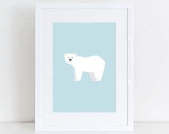 Polar Bear Print, Nursery Wall Print, Wall Art Print, Kids Print, Nursery Art, Polar bear art, Baby Blue Print, Children Art, Animal Print