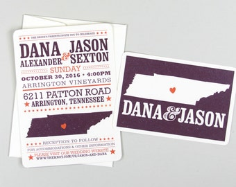 Nashville Tennessee 5x7 Hatch Show Print Inspired Wedding Invitation with RSVP Postcard