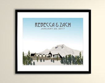 Mt. Hood Timberline Lodge Vintage Travel 11x14 Paper Poster - Wedding Poster personalized with Names and date (frame not included)