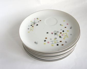 "Vintage Atomic Set of 5 ""Frolic"" Pattern Snack Plates, 1950's Laurel China, Made in Japan, Eames Era Snack Plates"