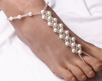 A Pair of Bridal Barefoot Sandals Pearl Beaded Anklet Wedding Beach Foot Jewelry