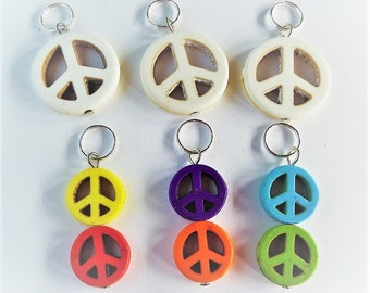 Peace, knitting and crochet stitch markers Set of 6, OOAK, Lightweight, Q13