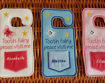 Personalised Tooth fairy door hanger, Personalised gift, tooth decor, tooth fairy pouch, kids gift for kids door signs, made to order