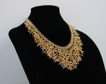 FREE Shipping, golden color necklace, necklace made from seed beads