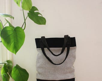 Black and White big shopper, market bag, tote bag