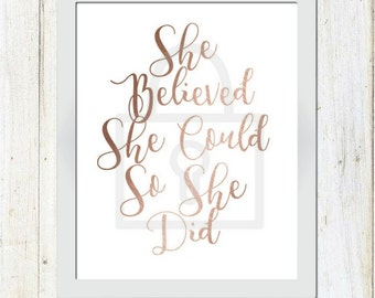 She Believed She Could So She Did, Inspirational Quote, Inspirational wall art, ROSE GOLD ART, she believed she could so she did svg, svg,