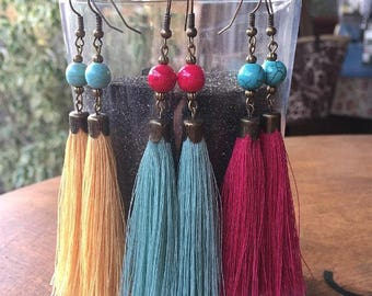 Summer Fashion *Tassel Earrings *Bohemian Jewelry *Statement Earrings *Party Accessory