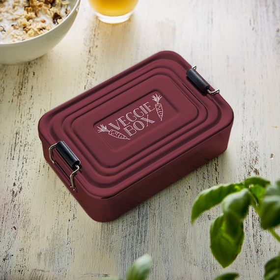 """Aluminium Lunchbox – Beautifully Etched – """"Veggie Box"""" – Original Birthday Gift - Available In Red Or Silver"""