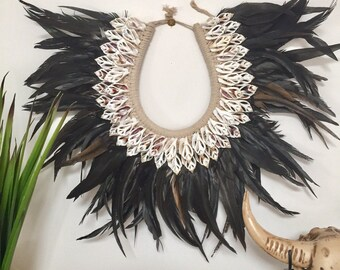 Tribal Papuan Indian Feather  Shell Necklace
