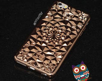 Gold Electroplated Diamond Pattern Protective Phone Case Designed for iPhone 6s iPhone 7 iPhone 7 Plus from High Quality Flexible Silicone