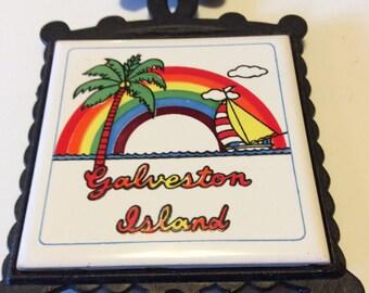 Vintage Galveston Island Souvenir Ceramic Tile and Cast Iron Trivet