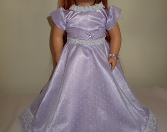"""18 Inch """"Pretty as Lilacs in Spring"""" Lavender Gown"""