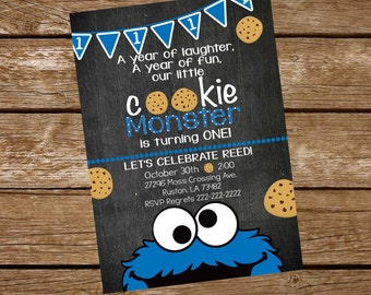 Cookie Monster Birthday Bundle, Cookie Monster Invitation, Cookie Monster Thank you Cards, Cookie Monster Chalkborad Poster