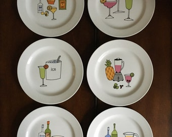 Six  MARGARITA by Ursula Dodge, hors d'oeuvre, can-a-pe', Dessert PLATES