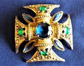 Vintage Florenza Iconic Maltese Cross Brooch / Pin