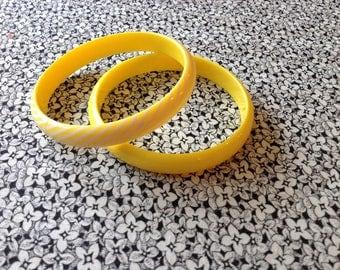 Vintage Yellow Lucite Bangle Bracelets